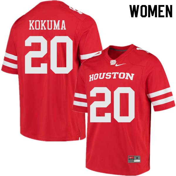Women #20 Kaliq Kokuma Houston Cougars College Football Jerseys Sale-Red